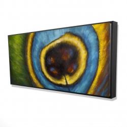 Framed 24 x 48 - 3D - Peacock feather closeup
