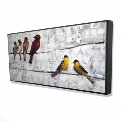 Framed 24 x 48 - 3D - Colorful birds on branches