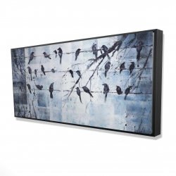 Framed 24 x 48 - 3D - Abstract birds on electric wire
