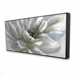 Framed 24 x 48 - 3D - White chrysanthemum
