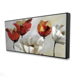 Framed 24 x 48 - 3D - Abstract red and white flowers