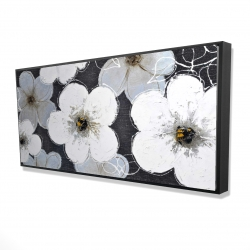 Framed 24 x 48 - 3D - Gray flowers