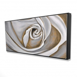 Framed 24 x 48 - 3D - White rose closeup