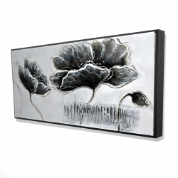 Framed 24 x 48 - 3D - Industrial style grayscale flowers