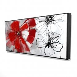 Framed 24 x 48 - 3D - Red & gray flowers