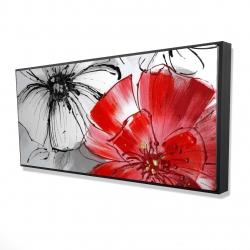 Framed 24 x 48 - 3D - Red & white flowers sketch