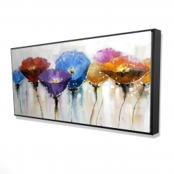 Framed 24 x 48 - 3D - Colorful flowers