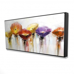 Framed 24 x 48 - 3D - Multiple colorful abstract flowers