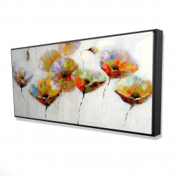 Framed 24 x 48 - 3D - Color dotted flowers