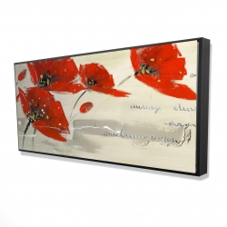 Framed 24 x 48 - 3D - Abstract red flowers in the wind