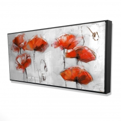 Framed 24 x 48 - 3D - Red flowers