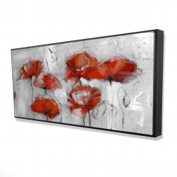Framed 24 x 48 - 3D - Abstract poppies