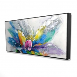 Framed 24 x 48 - 3D - Abstract flower with newspaper