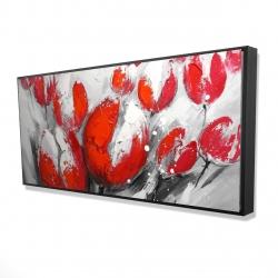 Framed 24 x 48 - 3D - Red tulips