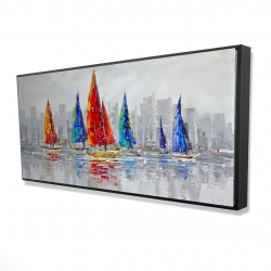 Framed 24 x 48 - 3D - Colorful boats near a gray city