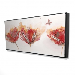 Framed 24 x 48 - 3D - Crimson flowers and butterfly