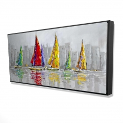 Framed 24 x 48 - 3D - Sailboats in the wind