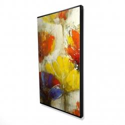 Framed 24 x 48 - 3D - Modern yellow flowers