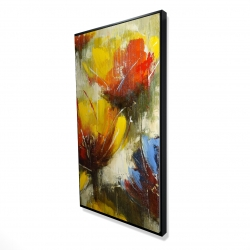 Framed 24 x 48 - 3D - Texturized yellow flowers
