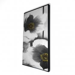 Framed 24 x 48 - 3D - Black and white flowers