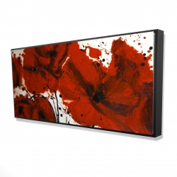 Framed 24 x 48 - 3D - Abstract red flowers field