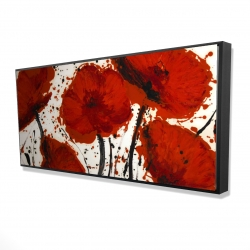 Framed 24 x 48 - 3D - Abstract paint splash red flowers
