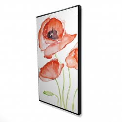 Framed 24 x 48 - 3D - Watercolor poppies