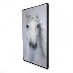 Framed 24 x 48 - 3D - Powerful white horse