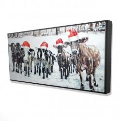 Framed 24 x 48 - 3D - Curious christmas cows