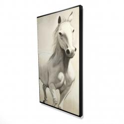 Framed 24 x 48 - 3D - Gallant white horse