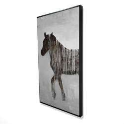 Framed 24 x 48 - 3D - Gambading abstract horse