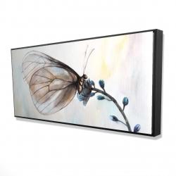 Framed 24 x 48 - 3D - Butterfly on blue flowers