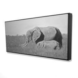 Framed 24 x 48 - 3D - Elephants in the savannah