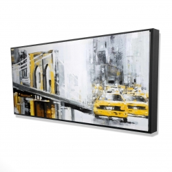 Framed 24 x 48 - 3D - Yellow brooklyn bridge with taxis