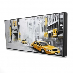 Framed 24 x 48 - 3D - New york city with taxis