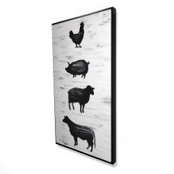 Framed 24 x 48 - 3D - Farm animals