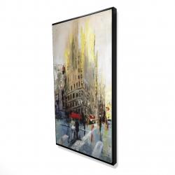 Framed 24 x 48 - 3D - Abstract rainy street