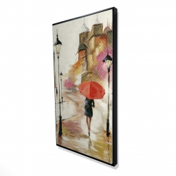 Framed 24 x 48 - 3D - Passersby under their umbrellas