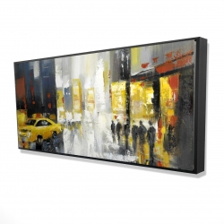 Framed 24 x 48 - 3D - Rainy busy street
