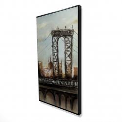 Framed 24 x 48 - 3D - City bridge by a cloudy day