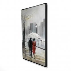 Framed 24 x 48 - 3D - Couple walking under the rain