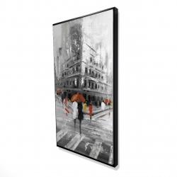 Framed 24 x 48 - 3D - Greyish flatiron building