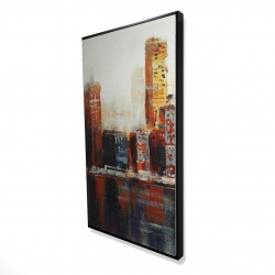 Framed 24 x 48 - 3D - Abstract red cityscape