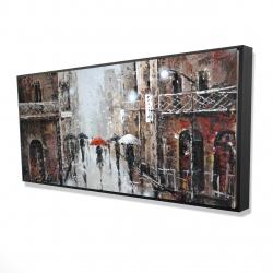 Framed 24 x 48 - 3D - City rain