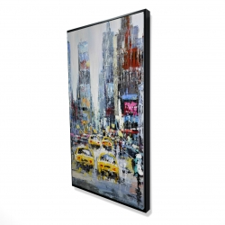 Framed 24 x 48 - 3D - Urban scene with yellow taxis