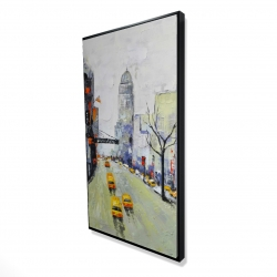 Framed 24 x 48 - 3D - Gray street with yellow and red accents