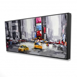 Framed 24 x 48 - 3D - Abstract street with yellow taxis