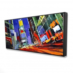 Framed 24 x 48 - 3D - Colorful times square by night