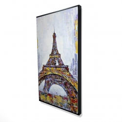 Framed 24 x 48 - 3D - Abstract paint splash eiffel tower