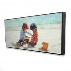 Framed 24 x 48 - 3D - Little girls at the beach